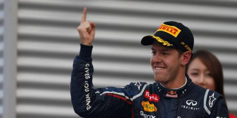 Sebastian Vettel took over the points lead from Ferarri's Fernando Alonso with a win at Korea on Sunday.