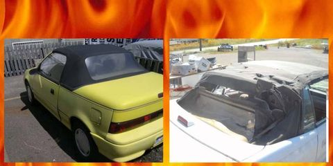 Project Car Hell, the Little Detroit convertibles: The Dodge Shadow or the Geo Metro?