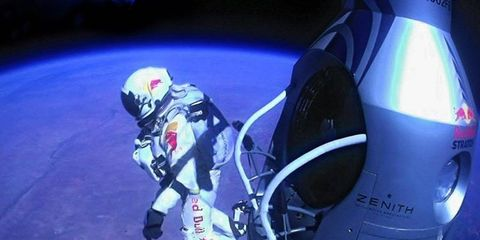Daredevil Felix Baumgartner jumped from the edge of space on Sunday. Many racing personalities reacted to the feat.