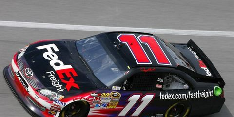 Denny Hamlin recorded the fastest practice lap on Thursday at Charlotte Motor Speedway.