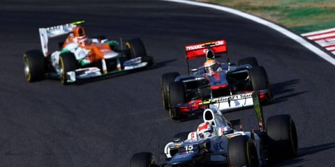 Sauber's Sergio Perez leads the way during a recent race. Peter Sauber has handed control of his team to Monisha Kalternborn.
