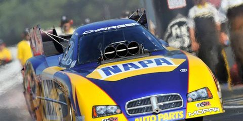Ron Capps won his fifth Funny Car event of the season on Sunday in Las Vegas.