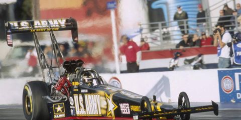 Tony Schumacher was the top qualifier in the Top Fuel category in NHRA action on Saturday.