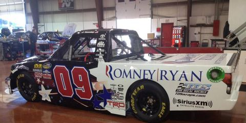 Presidential candidate Mitt Romney and his running mate, Paul Ryan, will see their names on the side of the No. 09 Toyota Tundra for Saturday's Camping World Truck Series race.