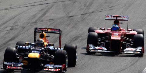 Sebastian Vettel, left, leads Fernando Alonso, right, by just six points with four races remaining in the Formula One season.