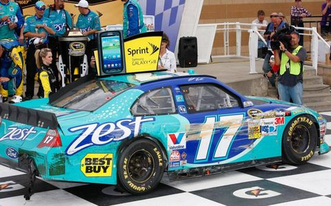 Matt Kenseth's car shows the marks of a rough day at the office.