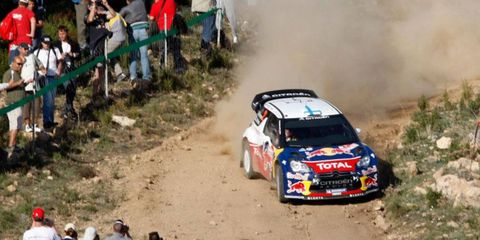 Mikko Hirvonen drives on the gravel roads of Italy on Saturday.