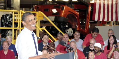 President Barack Obama spoke to workers at the Jeep assembly plant in Toledo in 2011.