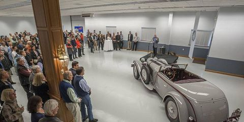 The 1928 Mercedes-Benz 680S Saoutchik Torpedo Roadster that took top honors was the star at a fundraising event at Paul Russell and Co. in Essex, Mass.
