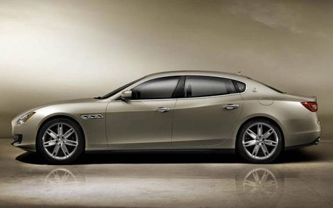 A side view of the redesigned Maserati Quattroporte.