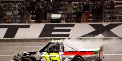 Johnny Sauter kicked off a big weekend at Texas Motor Speedway with a win in the NASCAR Truck Series on Friday night.