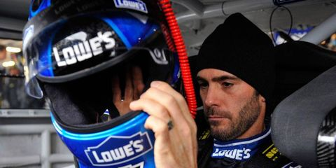 Jimmie Johnson's New York apartment building was damaged during this past weekend's storm.
