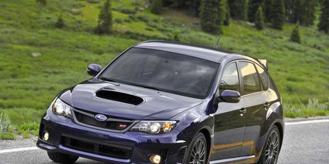 The 2012 Subaru Impreza WRX STI looks and feels like an athletic machine. Our test vehicle's exterior was a creamy white.