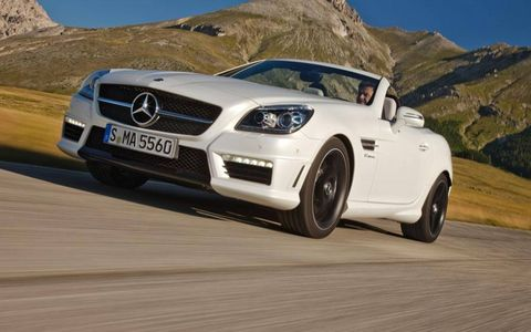 The 2012 Mercedes-Benz SLK55 AMG isn't quite at the same level as the more expensive SL AMG, but that doesn't mean it isn't a blast on the road.