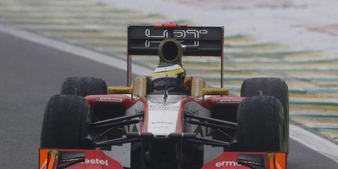 Pedro de la Rosa finished 17th in Brazil in what may have been the final race for the HRT F1 team.