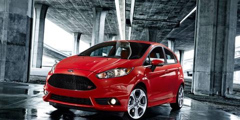 The 2014 Ford Fiesta ST debuts at the Los Angeles Auto Show.