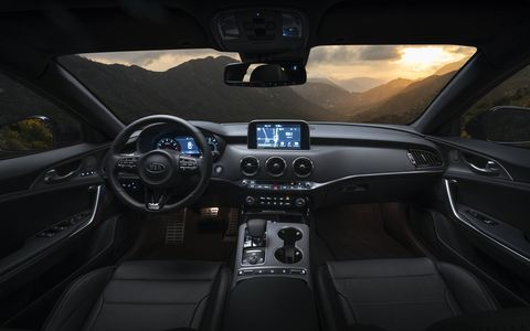 The 2018 Kia Stinger has room for five and 23.3 cubic feet of cargo space in the trunk.