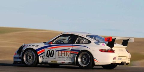The winning Porsche 997 Cup car that was driven by Piere Ehret, Tyler McQuarrie, Anthony Ward, Christian Bollrath and Memo Gidley at the 10th annual National Auto Sport Association's United States Air Force 25 Hours of Thunderhill on Sunday.