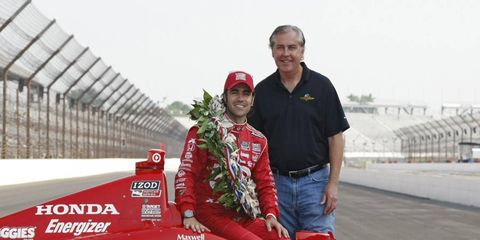 Indianapolis Motor Speedway CEO Jeff Belskus poses with Dario Franchitti last May. Belskus has been named IndyCar's CEO...for now.