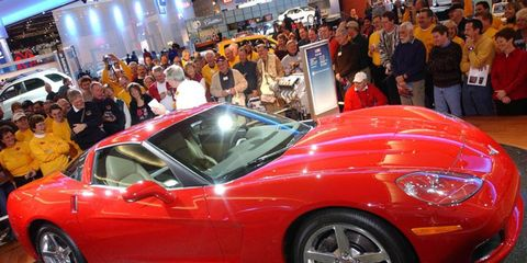 A new Corvette always draws big crowds. This is the 2005 Corvette, the first of the C6 generation, on display at the 2005 Detroit auto show.