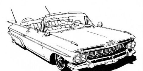 One of 32 lowriders featured in the excellent <i>Lowrider Coloring Book</i>.