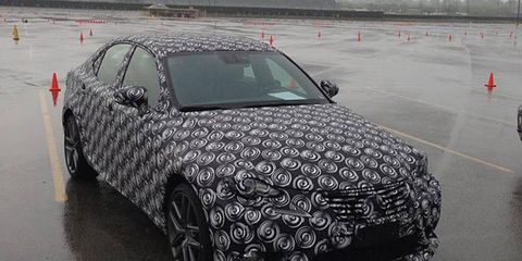 This is a camouflaged version of the 2014 Lexus IS sedan. A Toyota public relations executive posted it to Facebook on Tuesday.