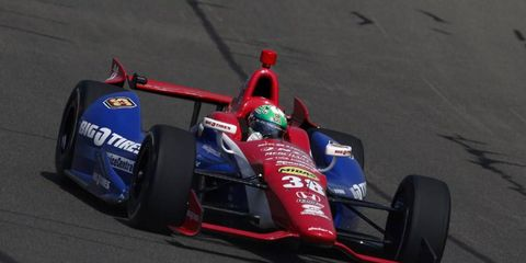 Graham Rahal, shown driving in Fontana, may be getting a new teammate.