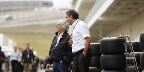 Bernie Eccleston, left, thinks F1 has one too many teams.