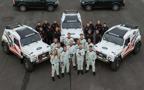The Race2Recovery team with its vehicles for the 2013 Dakar Rally