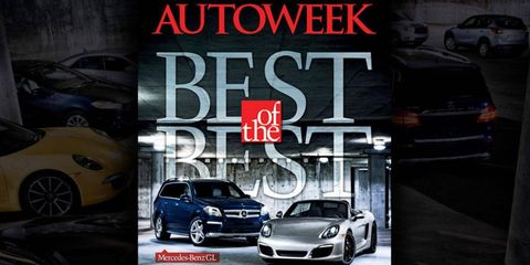 2013 <i>Autoweek</i> Best of the Best winners, the 2013 Porsche Boxster S and Mercedes-Benz GL.