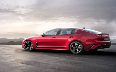The 2018 Kia Stinger gets either a turbocharged four or turbocharged V6.