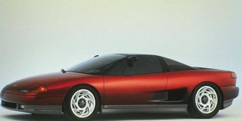 Major reveals at the 1988 Detroit auto show include the Dodge Intrepid and GMC Sierra A/R 400.