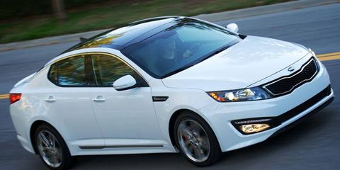 """Peter Schreyer's """"tiger face"""" grille design is seen on this 2012 Kia Optima."""