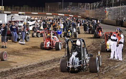 Main Event cars on the front straight for driver introductions before the 72nd running of the Turkey Night Grand Prix.