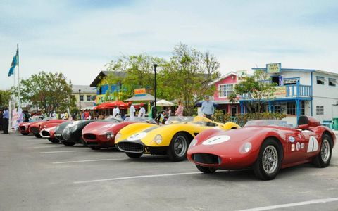 Cars lined up at Arawak Cay for the official Bahamas Speed Week Revival 2012 Opening Ceremony.