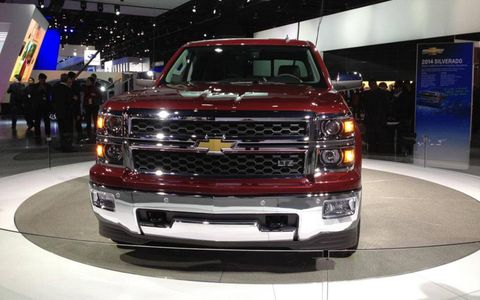 The Silverado sits on the Chevy stand at the Detroit auto show.