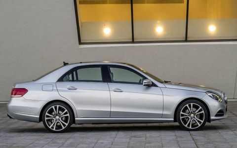 A side view of the 2014 Mercedes-Benz E-class sedan.