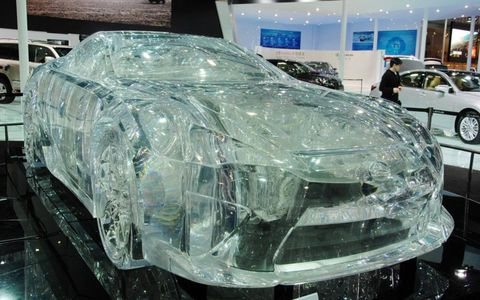 "Crystal cool // The Lexus LF-A Crystalized Wind is a ""car"" made entirely of acrylic glass. It was on display at the 10th Guangzhou International Automobile Exhibition in China. The 10-day auto show closed out this year's run on Dec. 2."