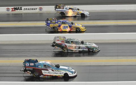 Four-wide elimination, 2010 NHRA Four-Wide Nationals at zMax Dragway, March 25-28.