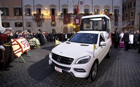 Pope-tastic // Pope Benedict XVI made an appearance at the famed Spanish Steps in Rome for the Solemnity of Immaculate Conception on Dec. 9 while showing off the new Popemobile.