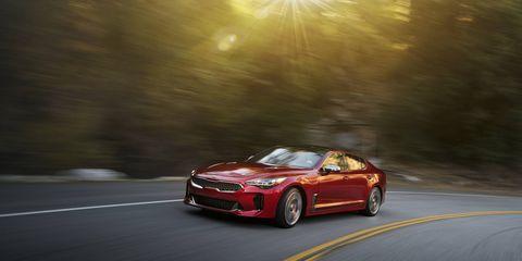 The 2018 Kia Stinger gets a 255-hp turbocharged four or a 365-hp turbocharged six-cylinder.