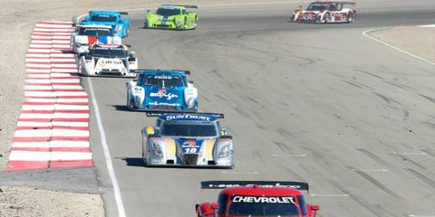 The #99 Chevrolet Riley of Alex Gurney and Jon Fogarty leads a long line of prototypes, Utah 250 atMiller Motorsports Park, Sept. 10-11.