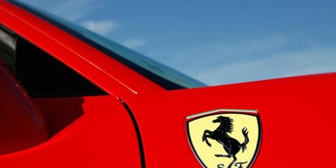 Red, Vehicle door, Hood, Symbol, Logo, Tints and shades, Automotive decal, Emblem, Sports car, Supercar,