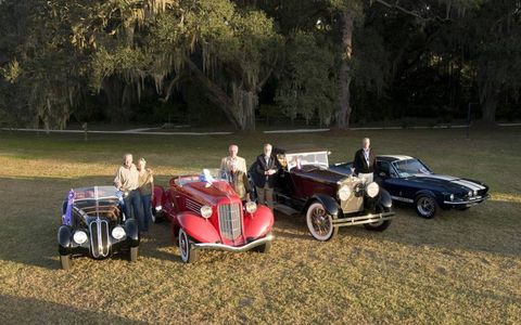 The winners, from left: 1937 BMW 328 Roadster was named Best in Show; 1936 Auburn 852 Boattail Speedster named People's Choice winner; 1928 Isotta Fraschini Tipo 8A55 named Most Oustanding Pre-1948; 1967 Shelby GT500 named Most outstanding Post 1948.