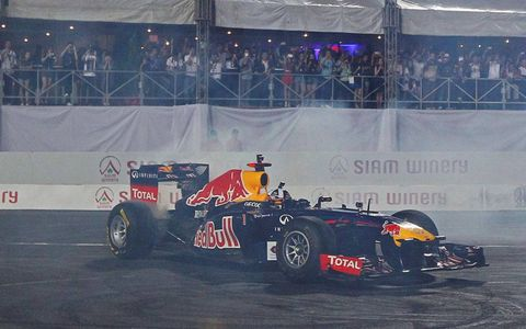 David Coulthard thrilled the crowd with a exhibition run of the Red Bull Formula One car between heats at the Race of Champions.