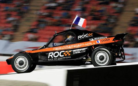 Rally star Sebastien Ogier in action at the Race of Champions.
