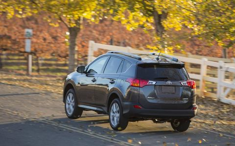 There's no spare tire on the back of the new RAV4, it's stowed underneath.