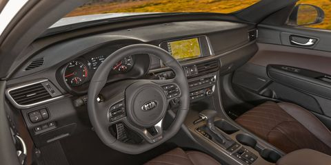 The 2017 Kia Optima SX Limited gets upgraded seat stitching, leather trim and a great infotainment system.