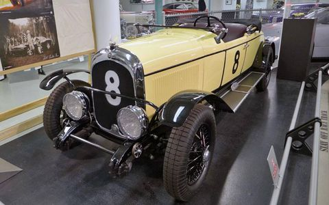A 1928 Chrysler Model 72 LeMans racer replica is displayed in the basement of the Walter P. Chrysler Museum.