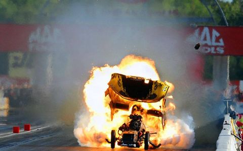 Another in the series of shots by Gary Nastase of Todd Lesenko's NHRA explosion last season at Indianapolis.